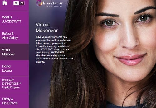 Virtual makeover for brow lift treatment